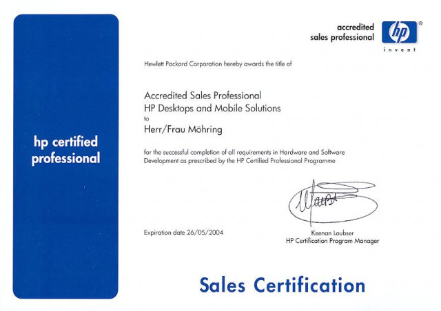 hp certified professional 2004  75